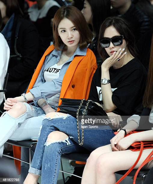 Kang MinKyung and HyoMin of Tara attend the 2014 F/W Seoul Fashion Week 'Song JaIn fashion show' at DDP on March 25 2014 in Seoul South Korea