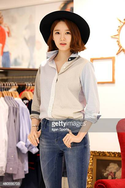 Kang MinKyung attends the UNIQLO 'Collaboration with Ines de la Fressange' event on March 20 2014 in Seoul South Korea