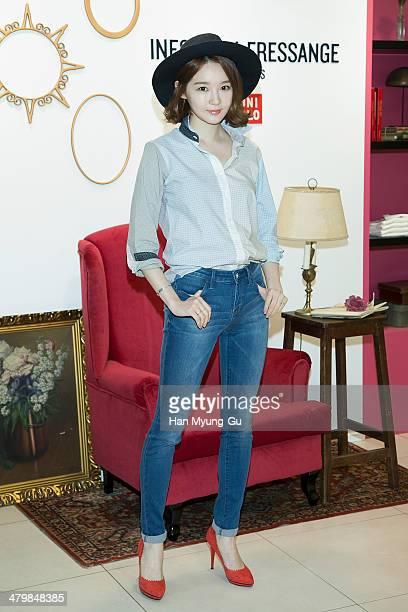 Kang MinKyung of South Korean girl group Davichi attends the UNIQLO Ines De La Fressange Paris Collection event at Uniqlo Apgujeong Store on March 20...