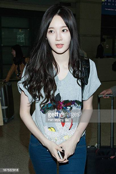 Kang MinKyung of South Korean girl group Davichi is seen upon arrival at Incheon International Airport on April 25 2013 in Incheon South Korea