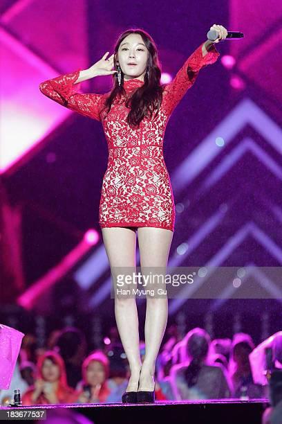 Kang MinKyung of South Korean girl group Davichi performs onstage the 2013 Hallyu Dream Concert on October 5 2013 in Gyeongju South Korea