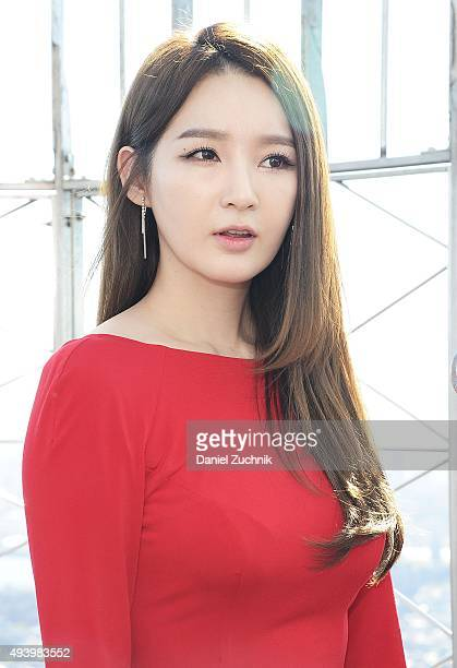 Kang MinKyung of the Kpop group Davichi attends the lighting of The Empire State building on October 23 2015 in New York City