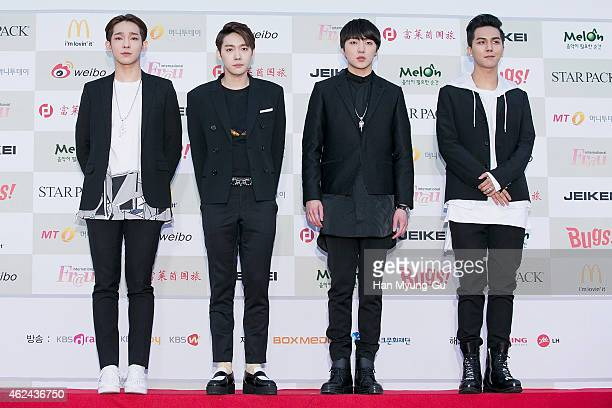Kang SeungYoon and boy band Winner attends the 4th Gaon Chart KPop Awards on January 28 2015 in Seoul South Korea