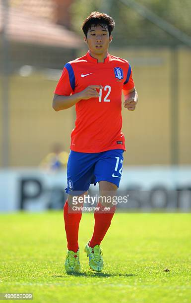 Kang Yun Koo of South Korea in action during the Toulon Tournament Group B match between South Korea and Qatar at the Stade Perruc on May 24 2014 in...