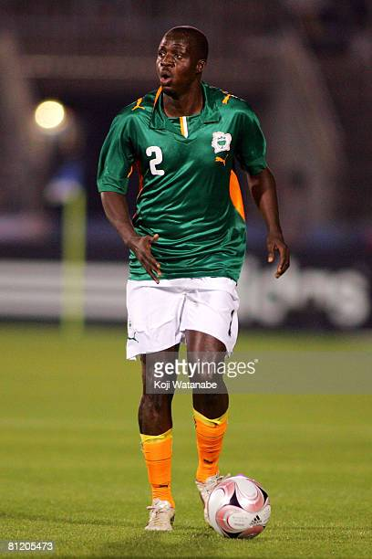Kanga Akale of Ivory Coast in action during Kirin Cup match between Ivory Coast and Paraguay at Nippatsu Mitsuzawa Stadium on May 22 2008 in Yokohama...