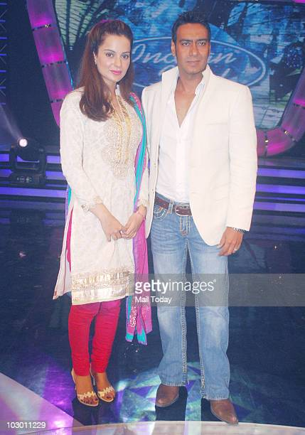 Kangana Ranaut and Ajay Devgan on the sets of Indian Idol 4 in Mumbai on July 20 2010