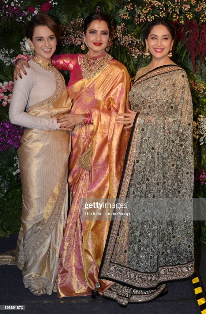 Kangana Ranaut Rekha and Madhuri Dixit at Virat Kohli and Anushka Sharmas reception in Mumbai