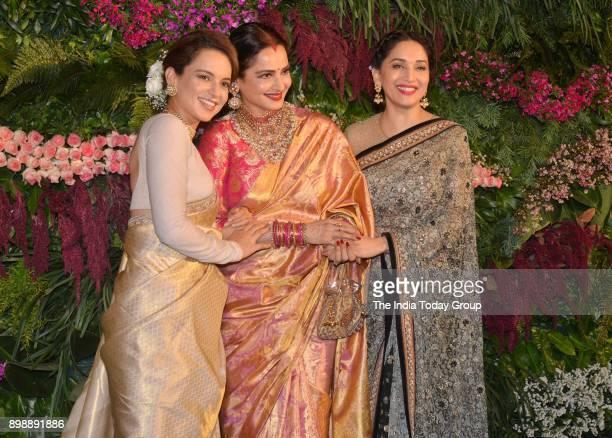 Kangana Ranaut Rekha and Madhuri Dixit at Virat Kohli and Anushka Sharmas reception in Mumbai