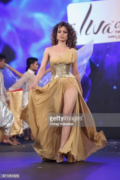 Kangana Ranaut walks the runway during LIVA Fashion show by Aditya Birla Group at Hotel Lalit on April 21 2017 in Mumbai India