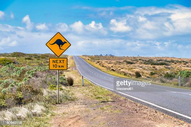 kangaroo crossing sign by great ocean road against sky, victoria, australia - crossing sign stock pictures, royalty-free photos & images