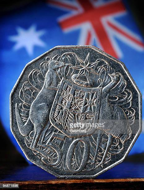 A kangaroo left stands alongside the emu on the Australian coat of arms seen here on a 50cent coin in Sydney Australia on Tuesday Oct 14 2008 The...