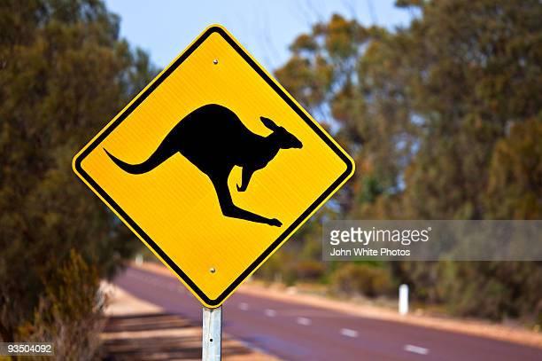 kangaroo warning sign australia - animal crossing stock pictures, royalty-free photos & images