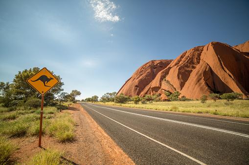 Kangaroo warning sign in the outback, Australia 615275058