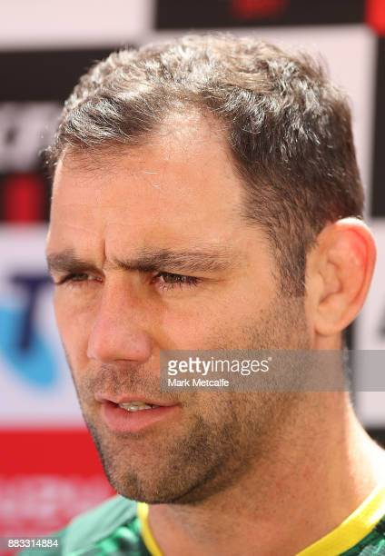 Kangaroos captain Cameron Smith talks to media before an Australian Kangaroos training session at Suncorp Stadium on December 1 2017 in Brisbane...