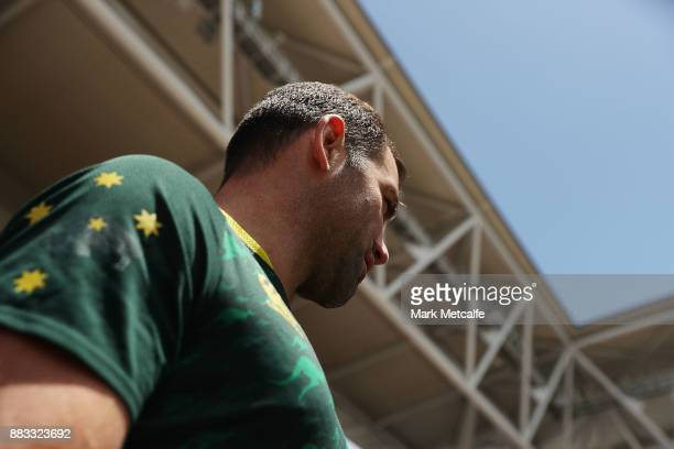 Kangaroos captain Cameron Smith walks out for an Australian Kangaroos training session at Suncorp Stadium on December 1 2017 in Brisbane Australia