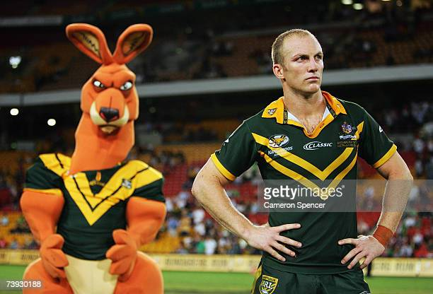 Kangaroos Captain Darren Lockyer waits to receive the trophy after winning the ARL Bundaberg Test match between the Australian Kanagroos and the New...