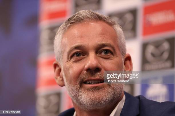 Kangaroos chairman, Ben Buckley speaks to the media during a North Melbourne Kangaroos AFL media opportunity at Arden Street Ground on December 12,...