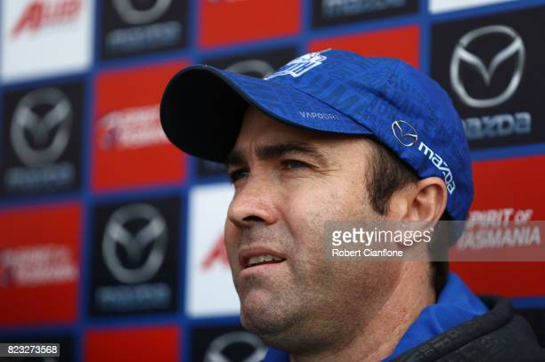 Kangaroos coach Brad Scott speaks to the media during a North Melbourne Kangaroos AFL training session at Arden Street Ground on July 27 2017 in...