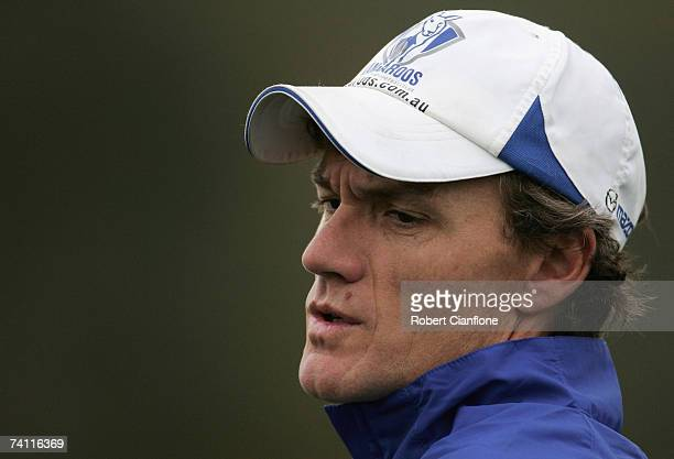 Kangaroos coach Dean Laidley is seen during a Kangaroos AFL training session held at Arden Street May 10 2007 in Melbourne Australia