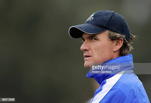 Kangaroos coach Dean Laidley looks on during a Kangaroos AFL training session at Arden Street Oval on February 25 2009 in Melbourne Australia