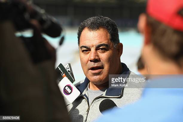 Kangaroos coach Mal Meninga speaks to the media during the New South Wales State of Origin captain's run at ANZ Stadium on May 31 2016 in Sydney...