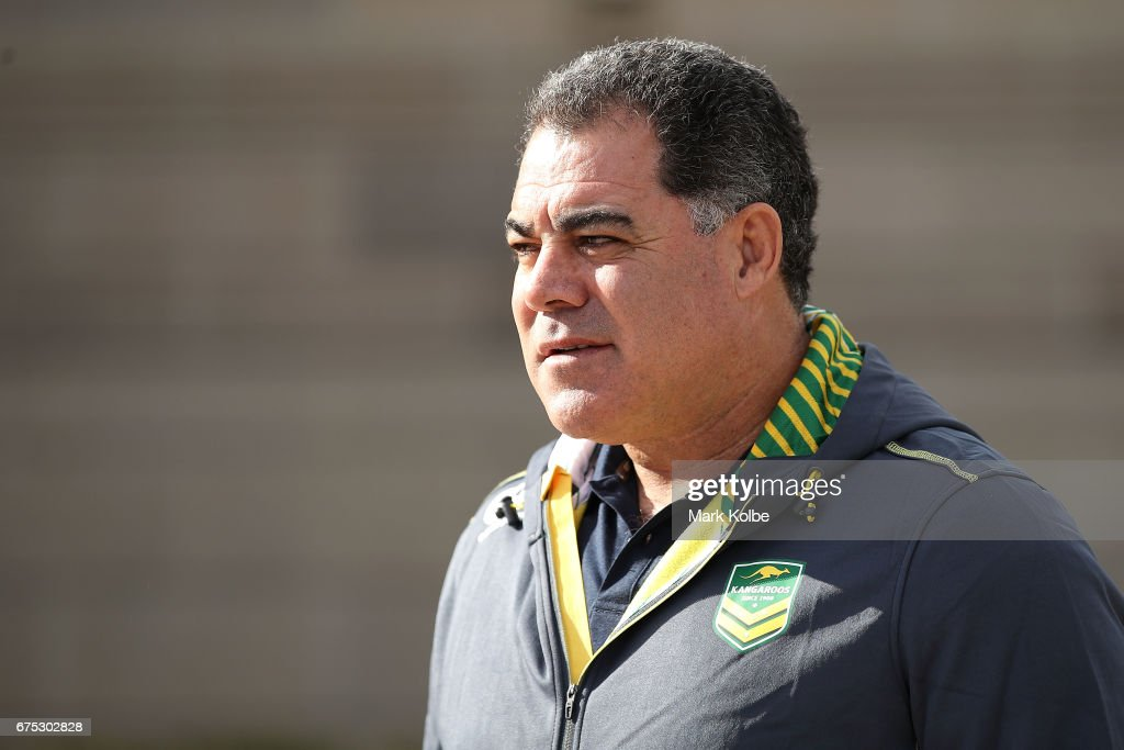 Kangaroos coach Mal Meninga watches on as he arrives at an Australian Kangaroos media opportunity at the Australian War Memorial on May 1, 2017 in Canberra, Australia.