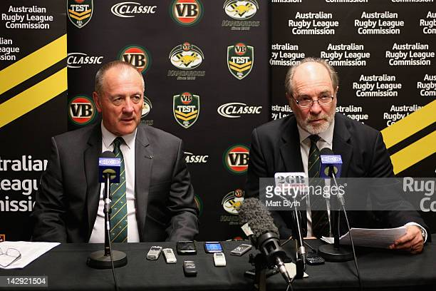 Kangaroos coach Tim Sheens and ARL Commission Chairman Mr John Grant announce the Australian Kangaroos team squad for the test match against the New...
