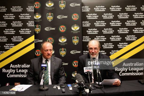 Kangaroos coach Tim Sheens and ARL Commission Chairman, Mr John Grant announce the Australian Kangaroos team squad for the test match against the New...