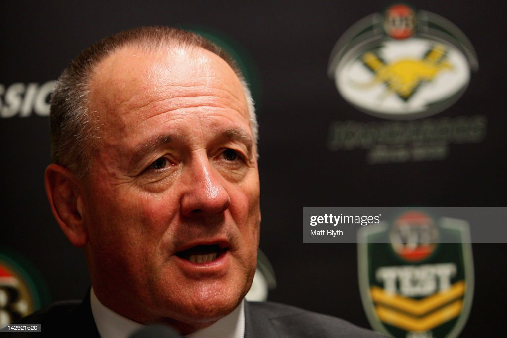 Kangaroos coach Tim Sheens talks to the media after the announcement of the Australian Kangaroos team squad for the test match against the New Zealand Kiwis, at Centrebet Stadium on April 15, 2012 in Sydney, Australia.