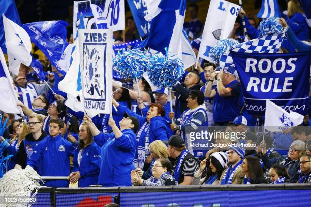 Kangaroos fans celebrate a goal during the round 23 AFL match between the St Kilda Saints and the North Melbourne Kangaroos at Etihad Stadium on...