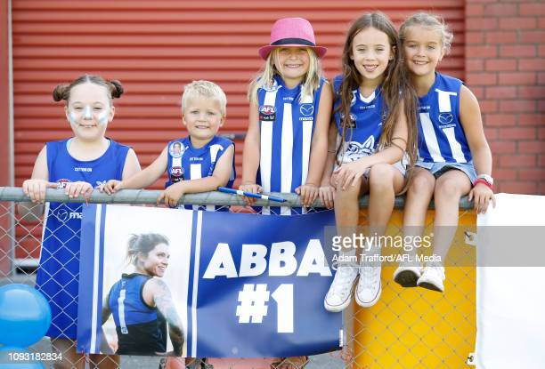 Kangaroos fans pose for a photo during the 2019 NAB AFLW Round 01 match between the North Melbourne Tasmanian Kangaroos and the Carlton Blues at...