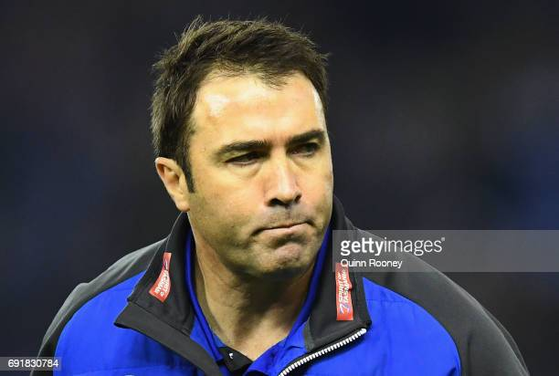 Kangaroos head coach Brad Scott looks on during the round 11 AFL match between the North Melbourne Kangaroos and the Richmond Tigers at Etihad...