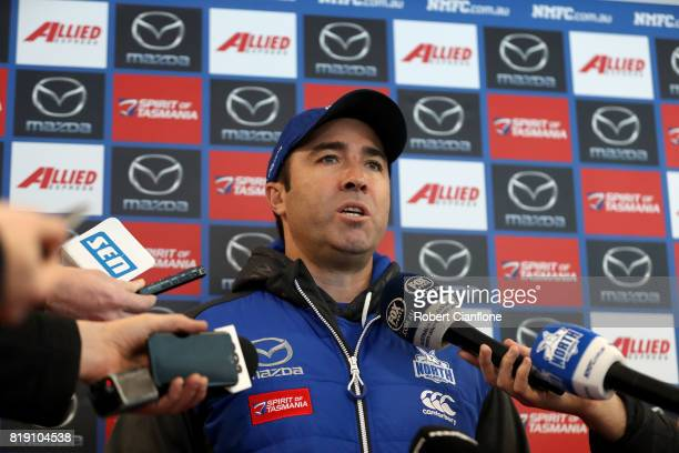 Kangaroos head coach Brad Scott speaks to the media during a North Melbourne Kangaroos AFL training session at Arden Street Ground on July 20 2017 in...
