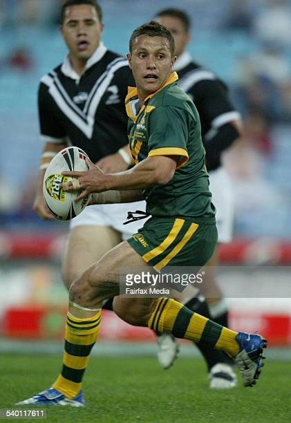 Kangaroos player Scott Prince in action during the rugby league curtain raiser between the Kangaroos Invitational and New Zealand A at Telstra...