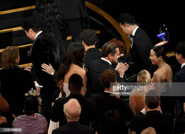 Kangho Song Camila Morrone Leonardo DiCaprio and Cho Yeojeong attend the 92nd Annual Academy Awards at Dolby Theatre on February 09 2020 in Hollywood...
