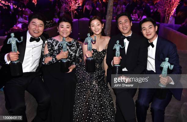 KangHo Song Lee Jung Eun Park Sodam Lee Sun Gyun and Choi Wooshik attend PEOPLE's Annual Screen Actors Guild Awards Gala at The Shrine Auditorium on...