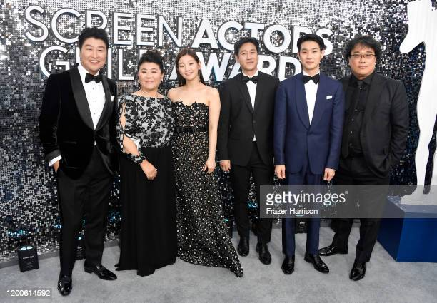 KangHo Song Lee Jung Eun Park Sodam Lee Sun Gyun Choi Wooshik and Bong Joonho of 'Parasite' attend the 26th Annual Screen Actors Guild Awards at The...