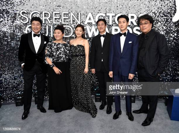 KangHo Song Lee Sun Gyun Lee Jung Eun Choi Wooshik Park Sodam and Bong Joonho attend the 26th Annual Screen Actors Guild Awards at The Shrine...