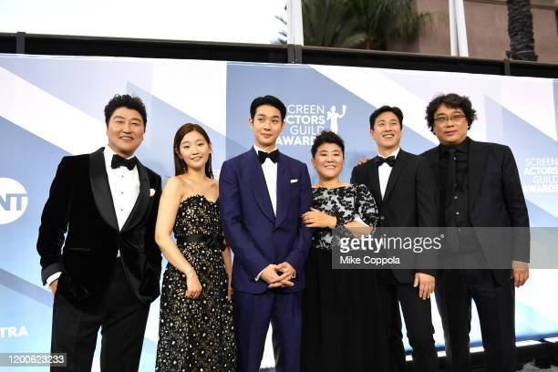 KangHo Song Park Sodam Choi Wooshik Lee Jung Eu Lee Sun Gyun and Bong Joonho attend the 26th Annual Screen Actors Guild Awards at The Shrine...