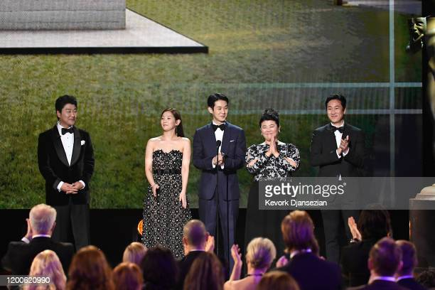 Kangho Song Sodam Park Woosik Choi Jeongeun Lee and Sunkyun Lee speak onstage during the 26th Annual Screen ActorsGuild Awards at The Shrine...