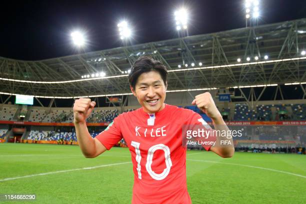 Kangin Lee of Korea Republic celebrates victory after the 2019 FIFA U-20 World Cup Quarter Final match between Korea Republic and Senegal at...