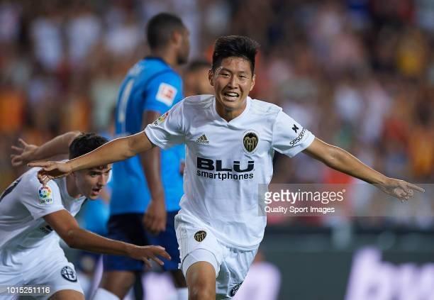 Kangin Lee of Valencia celebrates after scoring a goal during the preseason friendly match between Valencia CF and Bayer Leverkusen at Estadio...
