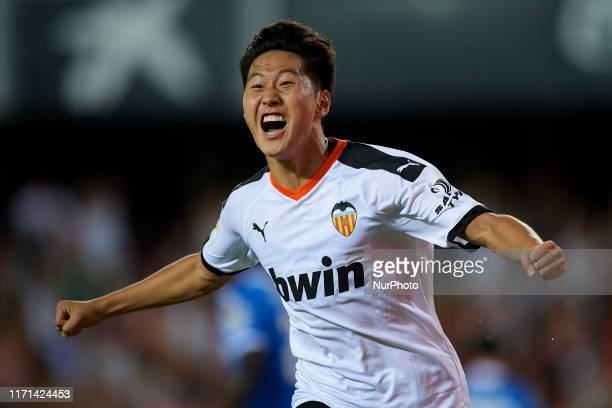 Kang-in Lee of Valencia celebrates after scoring his sides first goal during the Liga match between Valencia CF and Getafe CF at Estadio Mestalla on...