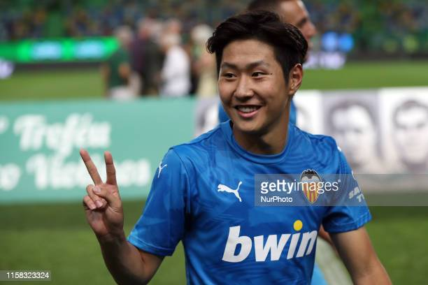 Kangin Lee of Valencia CF gestures during the Five Violins Trophy 2019 final football match Sporting CP vs Valencia CF at Alvalade stadium in Lisbon,...