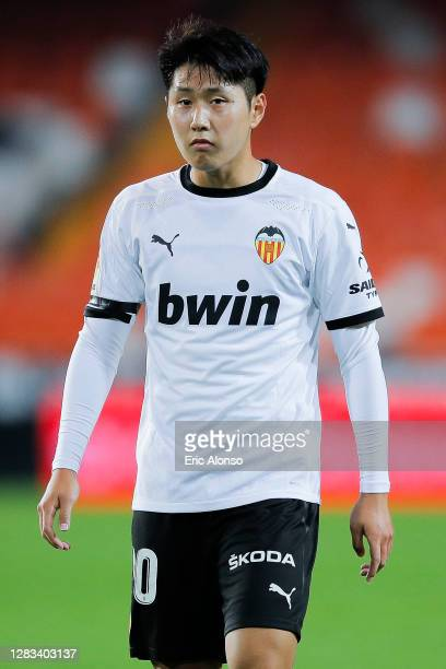 Kang-in Lee of Valencia CF looks on during the La Liga Santander match between Valencia CF and Getafe CF at Estadio Mestalla on November 01, 2020 in...