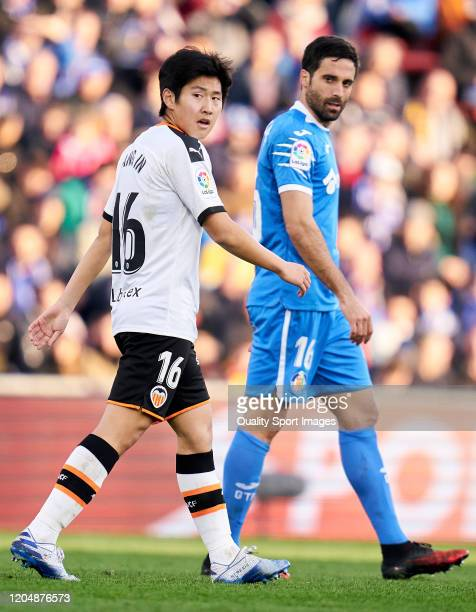 Kangin Lee of Valencia CF looks on during the Liga match between Getafe CF and Valencia CF at Coliseum Alfonso Perez on February 08 2020 in Getafe...