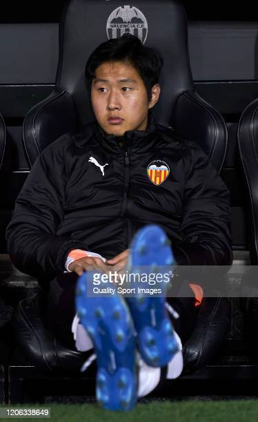 Kangin Lee of Valencia CF looks on prior the game during the Liga match between Valencia CF and Club Atletico de Madrid at Estadio Mestalla on...