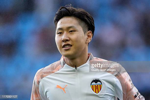 Kangin Lee of Valencia CF looks on prior to the Liga match between RC Celta de Vigo and Valencia CF at AbancaBalaidos on August 24 2019 in Vigo Spain