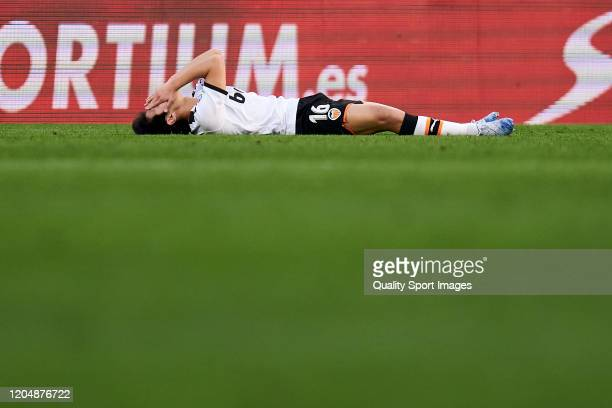 Kangin Lee of Valencia CF reacts during the Liga match between Getafe CF and Valencia CF at Coliseum Alfonso Perez on February 08 2020 in Getafe Spain