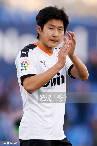 Kangin Lee of Valencia CF salutes the fans at the end of the game during the Liga match between Getafe CF and Valencia CF at Coliseum Alfonso Perez...